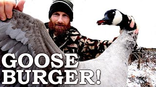 Goose BURGER in the CANADIAN SNOW (Savage)! | Catch, Clean, Cook Caveman Food in the Wild