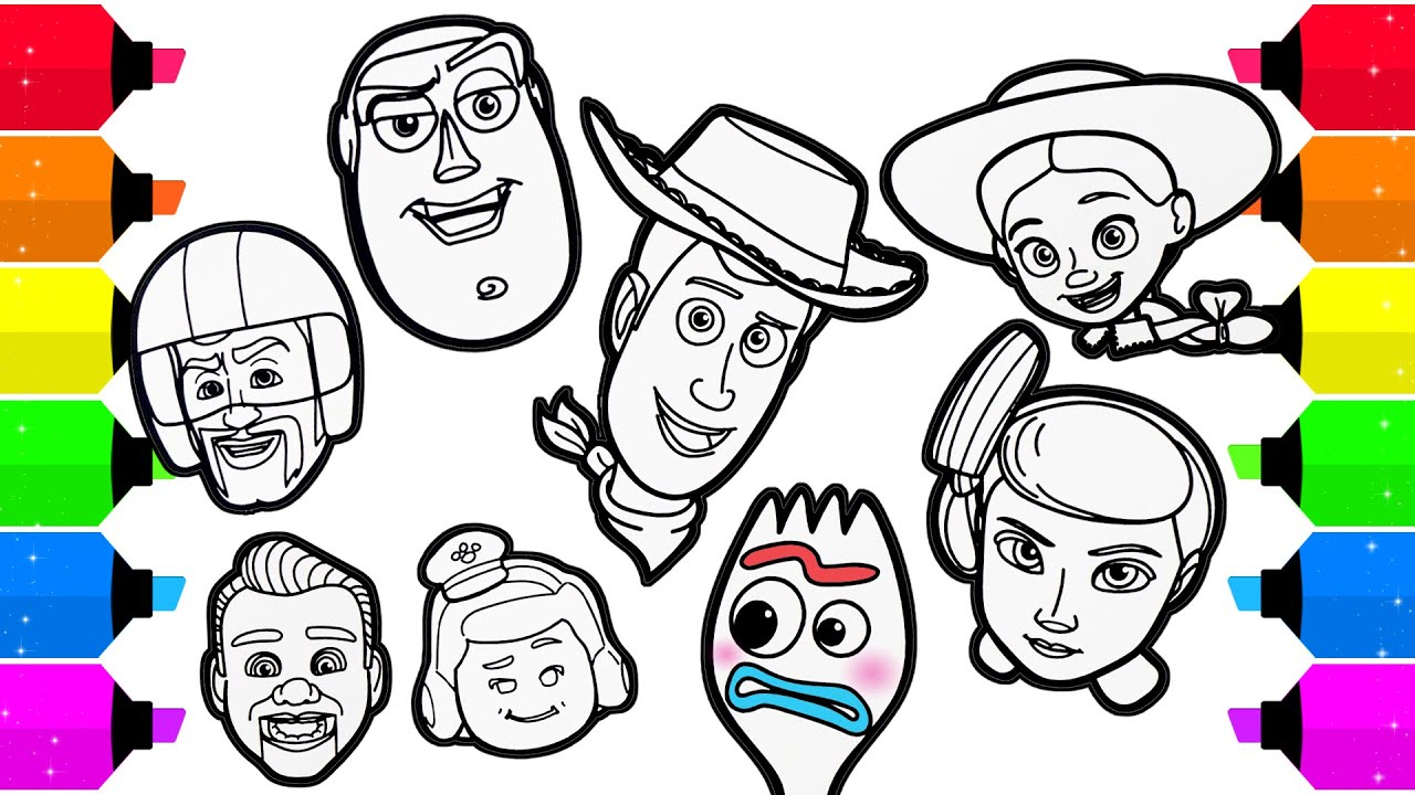 Toy Story 4 All Character Faces Drawing Coloring - YouTube
