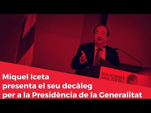 Miquel Iceta presenta el seu decàleg per a la Presidència de la Generalitat