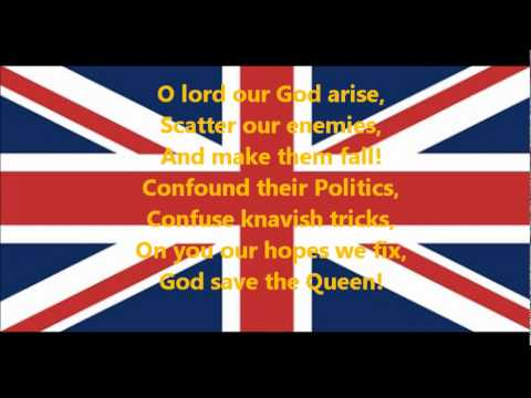 British National Anthem God Save the Queen - National ...