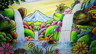 70 Lukisan Pemandangan Air Terjun Crayon Terbaru