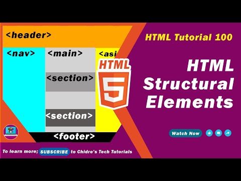 HTML Video Tutorial - 100 - HTML5 Structral Tags