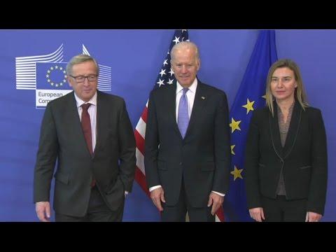 Jean Claude JUNCKER, President of the EC, and HRVP Federica MOGHERINI meet US Vice President Joe BID