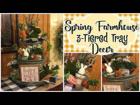 🌸🌿Spring Farmhouse 3 ~ Tiered Tray Decor || #farmhouse #springdiy #3tiertray
