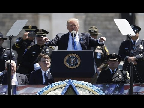 Thumbnail: President Donald Trump defends police officers at ceremony honoring slain police officers