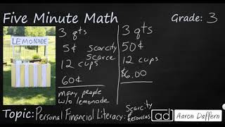 3rd Grade Math Personal Financial Literacy - Scarcity of Resources