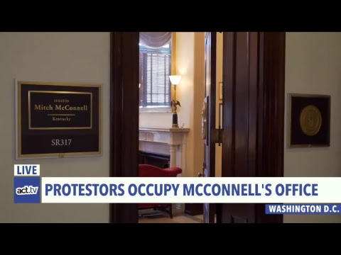 LIVE: #OccupyHart activists protesting the shutdown are occupying Mitch McConnell's office