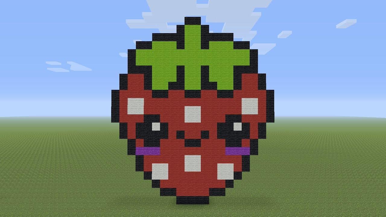 Minecraft Pixel Art Kawaii Strawberry