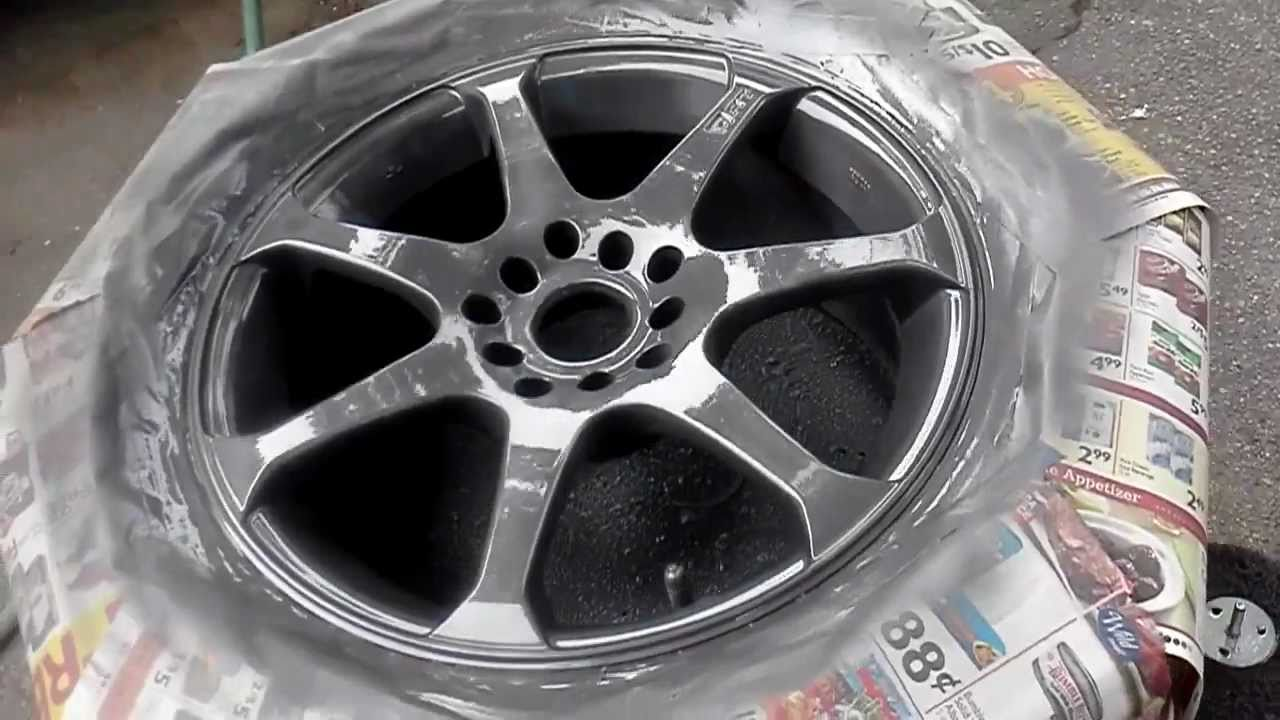how to paint rims with rustoleum wheel paint part 2. Black Bedroom Furniture Sets. Home Design Ideas