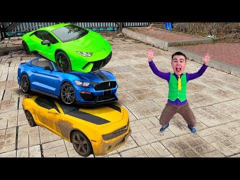 Mr. Joe on Camaro VS Ford Mustang VS Lamborghini! Red Man BEWITCHED Car in Garage 13+