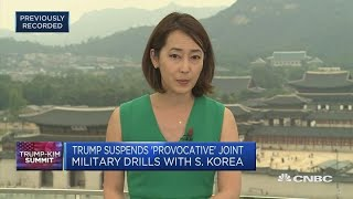 Trump suspends 'provocative' joint military drills with South Korea | Trump-Kim Summit