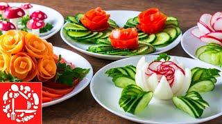 5 СУПЕР СПОСОБОВ Украшения Овощами на Праздничный стол. Как красиво нарезать Овощи
