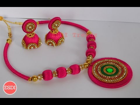 Silk Thread Necklace Set Designs Making Tutorial