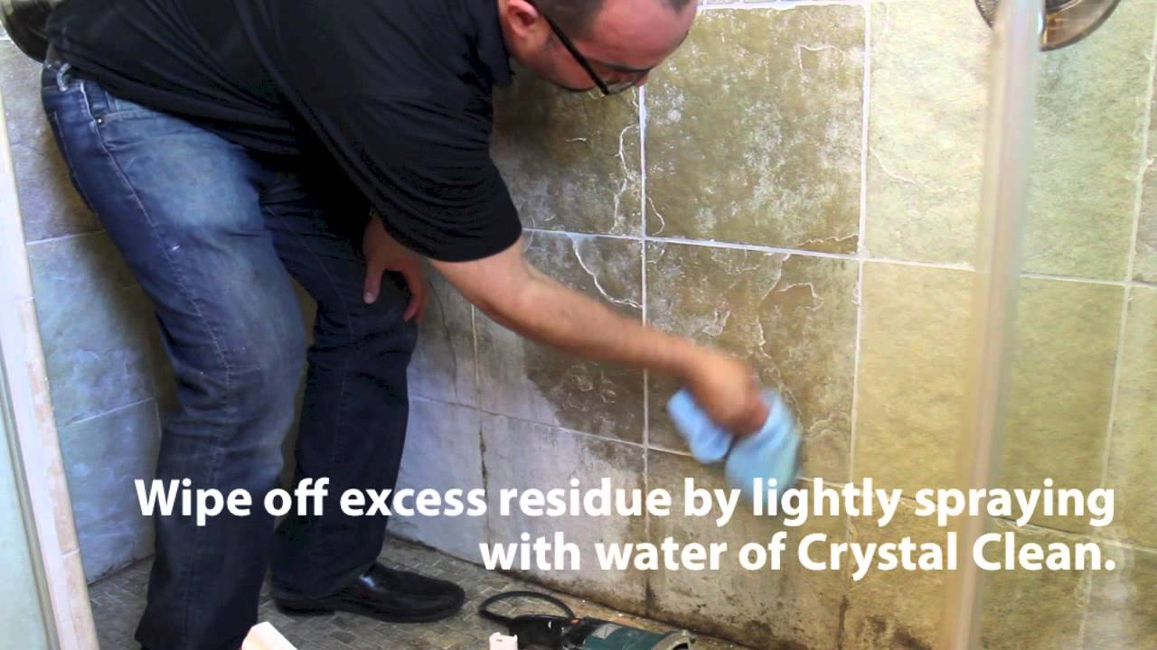 Stone pro how to remove hard water spots in showers youtube for How to clean floor stains