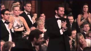 Bradley Cooper and Hugh Jackman's reaction when Jennifer Lawrence falls at Oscar 2013