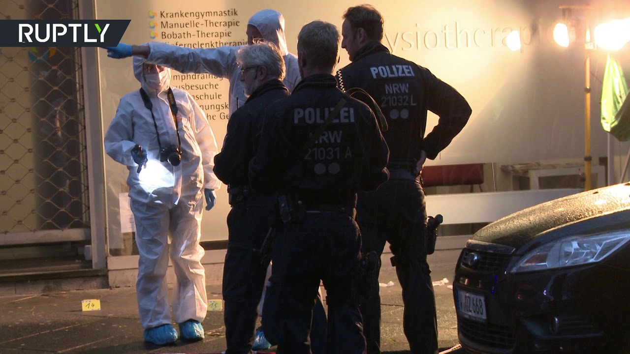Forensic analysts explore scene after man killed in knife attack in Wuppertal, Germany