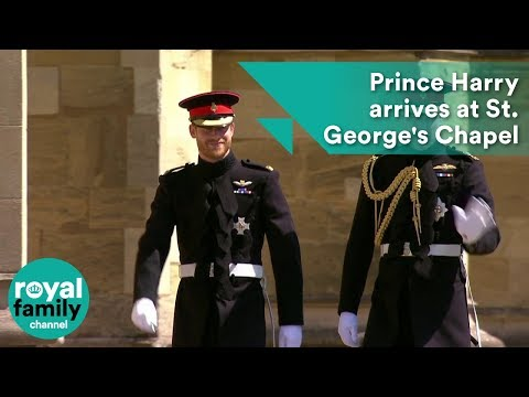 Prince Harry arrives at St. George's Chapel with Prince William for Royal Wedding 2018