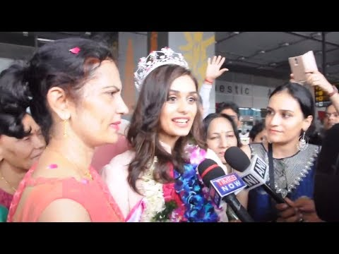 Miss India World 2017 Manushi Chhillar's Grand Welcome At The Delhi Airport