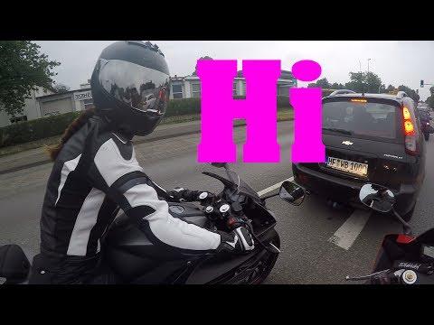 trigaberan: frau auf motorrad