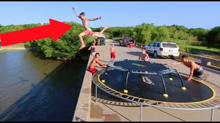 TRAMPOLINES ON A BRIDGE!
