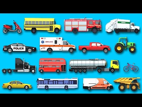 Thumbnail: Learning Street Vehicles Names and Sounds for kids with Surprise Eggs Cars and Trucks