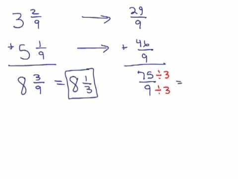 how to add mixed numbers with common denominators