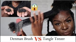 Tangle Teezer VS Denman Brush **SHOOK** Hair Loss Comparison|4C Natural Hair