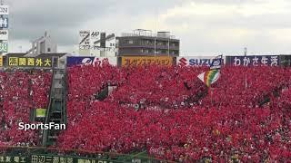 広島東洋カープがV8となるセリーグ優勝した日の甲子園レフトスタンド応...