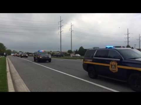 Police precession of fallen Delaware state Trooper 4-26-2017