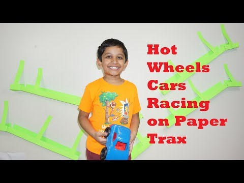 DIY Hot wheels cars racing on Paper Trax / Hot wheels super ramp with paper trax