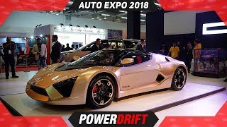 DC Design TCA Sportscar, Innova Ultimate Plus, Hammer @ Auto Expo 2018 : PowerDrift