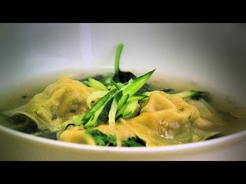 Chinese Wonton Soup (Chinese Style Cooking Recipe) Stuffed with Pork