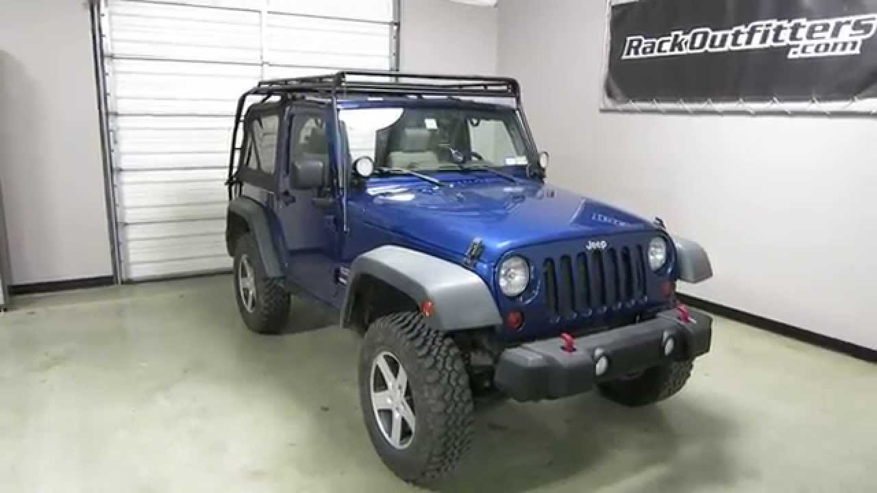 jeep wrangler 2 door jk gobi stealth roof rack 07 17 by rack outfitters