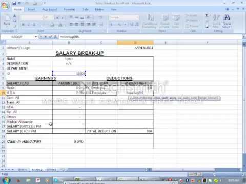 pay slip generate using vlookup in hindi YouTube – Payroll Slip