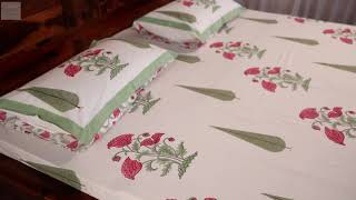 Bedsheets: Pink Flora Bed sheet with Pillow Covers
