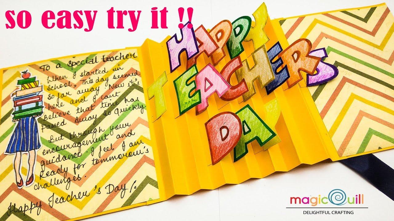 How To Make Teachers Day Pop Up Card Easy Teachers Day Card Ideas