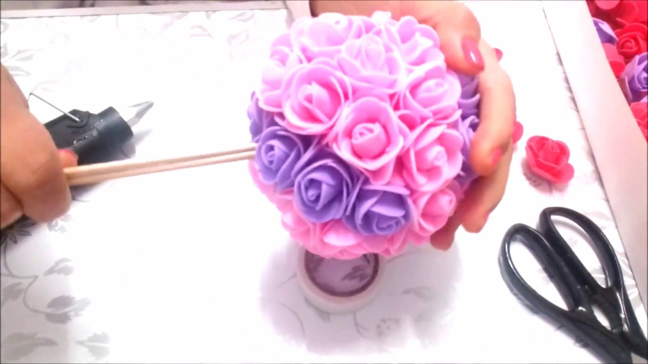 topiario diy flores de goma eva youtube