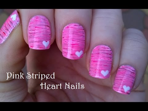 Striped Valentine S Day Nail Art With Hearts Using Acrylic Paint