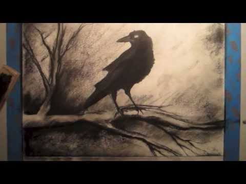 How To Draw A Crow on a Tree Branch - Tutorial