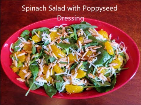 Spinach Salad with Oranges, Almonds and Homemade Poppy Seed Dressing