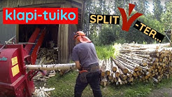 Making 4 m^3 ( ~1 cord) of firewood and stacking half of it on a pallet.