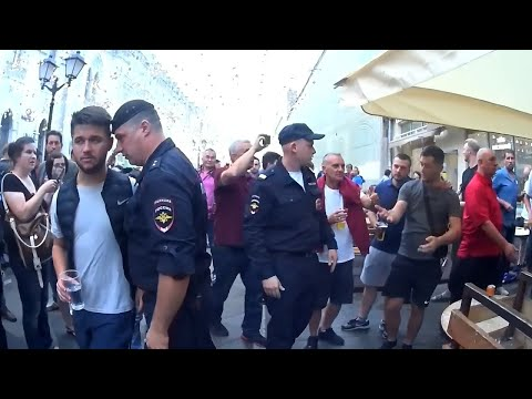 England fans in Moscow. TROUBLES WITH POLICE. 10.07.2018