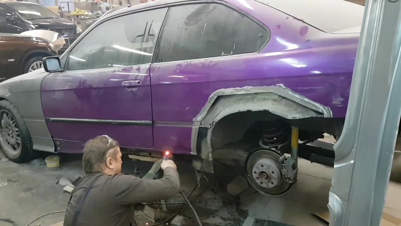 My BMW E36 body repair  Сварка поддомкратников