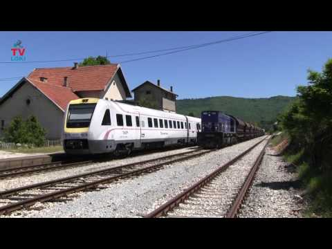 Crossing of passenger and freight train in Croatia