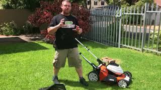 STIHL RMA 510 battery powered lawnmower using the AP 300 battery range