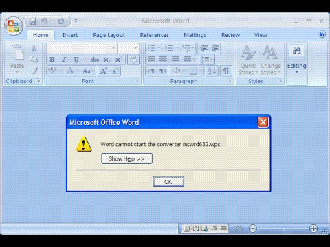 Word cannot start the converter mswrd632.wpc error