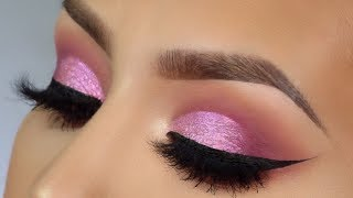 Easy pink cut crease valentines makeup tutorial l Huda Beauty melted shadow
