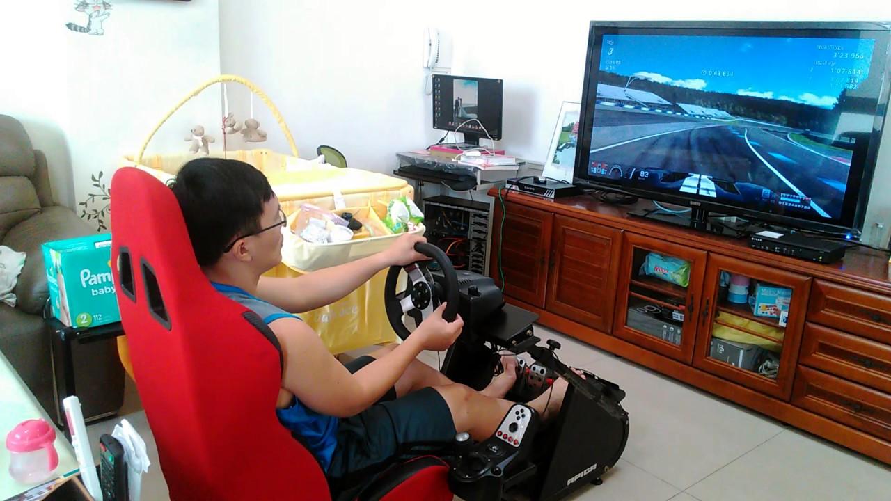 羅技賽車方向盤G27和賽車架ap1測試 - YouTube