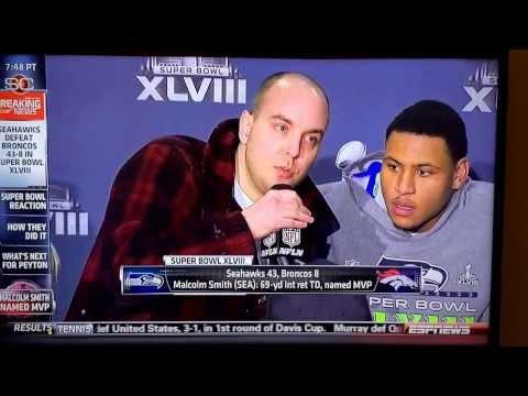 Super Bowl MVP press conference Interrupted