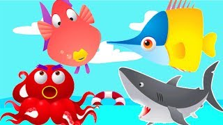 Colorful game - Ten little animals from the sea - memories game for kids - sea cartoon